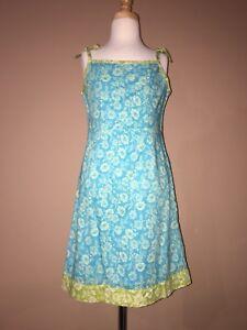 Gap Cotton Turquoise Green Spaghetti Straps Summer Dress Sz. M 7,8 Years Girls