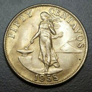 1958 Philippines 50 Centavos Copper-Nickel-Zinc KM# 190 XF++