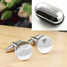 Silver Personalised Engraved Surname Heart ROUND Wedding Cufflinks