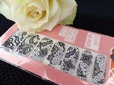 Nail Art Self Adhesive Full Nail Polish Rhinestone Black Lace Wrap Sticker Q1026