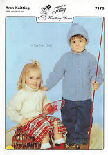VAT Free KNITTING PATTERN ONLY Aran Child Children Sweaters Hat Teddy 7170 New