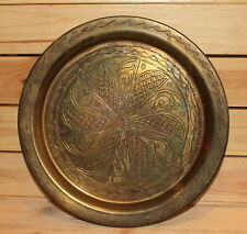 Vintage hand made engraved floral brass wall hanging plate