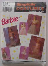 Simplicity Costume Pattern 8581 Girls Barbie Mermaid Fairy Ballerina Size 3 - 8