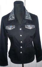 CHRISTINE ALEXANDER Black Denim Jacket Sz S  Black and Blue Pearls Crystals NEW