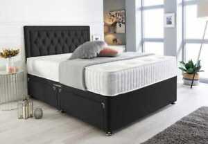 4FT6 5FT 6FT - PLUSH VELVET - DIVAN BED BASE - CUBED HEADBOARD - DRAWER STORAGE