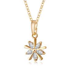 Elegant Yellow Gold Filled Star Shaped Rhinestone Pendant Womens Necklace