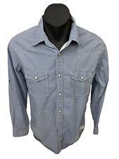 Maddox Mens Western Campdraft Marble Pearl Snap LS Blue Shirt Sz M