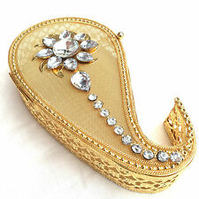 Metal Gift Box Gold Mesh Flower Gems Jewellery Sweet Present Container 23x13x5