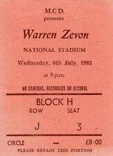 WARREN ZEVON - RARE ORIGINAL - FIRST EVER IRISH CONCERT TICKET - 6th July 1983