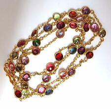 17ct natural peridot spinel rhodolite yard necklace 18kt station