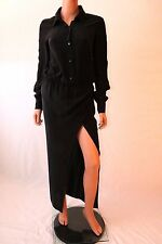 Haute Hippie Black Long Sleeve Front Button Up Shirt Maxi Dress With Belt