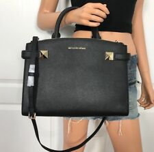 NWT Michael Kors Bag Leather Medium Crossbody Handbag Purse Black Gold