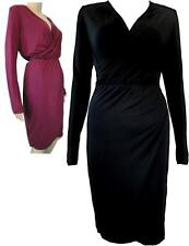 Special Occasion Patternless Midi Wrap Dresses