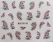 "Nail Art Decal Wrap Brown Red Glitter ""Leopard"" Spot Transfer Nail Stickers 1011"