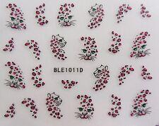 "Nail Art calcomanía Wrap Brown Red Glitter ""Leopard"" Spot transferencia Nail Stickers 1011"