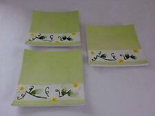 1 Stück Deko Teller Keramik Frühling Tischdeko 18,5 x 18,5 cm NEU gelb/grün
