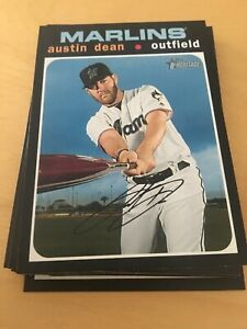 2020 Topps Heritage MIAMI MARLINS - Complete 12 Card Base Set W/ Rookies