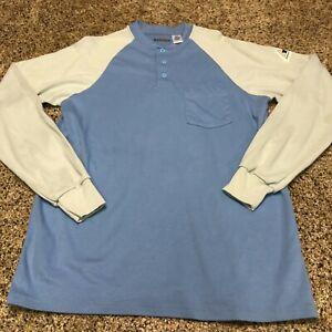 Bulwark FR Long Sleeve Shirt Medium Arc Rating 9.6 ATPV Blue Anrd Gray Sleeves