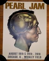 PEARL JAM OFFICIAL 2018 WRIGLEY FIELD CHICAGO CUNNINGHAM 8/18 8/20 POSTER MINT