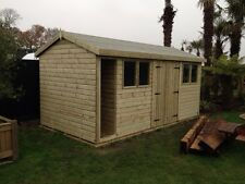 16 x 8 Heavy duty 19mm t&g Tanalised Apex Workshop with log store/cubby hole