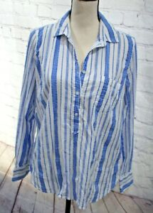 J. Crew Women's Long Sleeve Striped Cotton Top Shirt Blouse Blue White Size 10