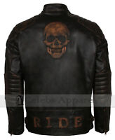 Mens Vintage Biker Black Skull Distressed Motorcycle Genuine Leather Jacket