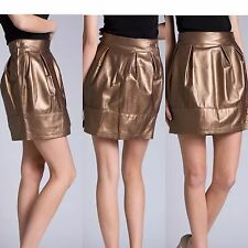Guarapo 100% Leather Bronzo Skirt Made In Italy 🇮🇹 Size 40 Fits XS Size