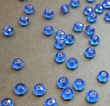 30 perles 6x4mm à facettes verre bleu océan