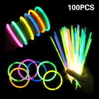 """100Pcs Premium Glow Sticks Bracelet Necklaces 8"""" Multi-Colors Neon Party Lights"""