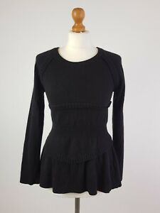 BURBERRY Fitted Stretch Frill n Fit Flare Wool Cashmere Jumper Black Medium M