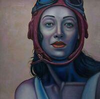 DIE PILOTIN 2 canvas Öl auf Leinwand Gemälde Gr. ca. 33x33 cm
