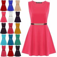 Womens Ladies Sleeveless Party Skater Dress Flared Franki Gold Belted Plus Size