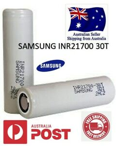 2X Samsung 30T INR21700 3000mAh 35A Flat Top Li-ion Rechargeable Battery