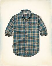 NWT Hollister By Abercrombie Plaid Brushed Cotton L/S Button Up Shirt Grey Sz M
