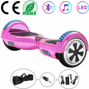 """Hoverboard 6.5"""" Electric Scooters Pink Bluetooth LED Smart Self-Balancing Board"""