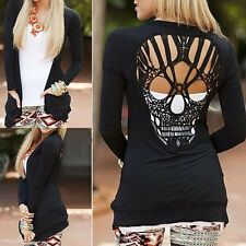 Women Black Long Sleeve Shirt Hollow Out Skull Backed Sweaters Jumper CardiganJS