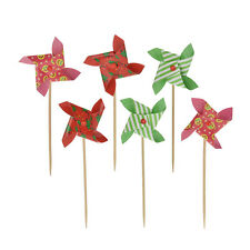 6pcs  Mini Windmill Cupcake Topper Picks Cake Decoration for Party Supplies 9B1