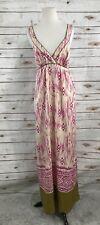Ann Taylor Loft Silk Aztec Maxi Dress White Pink Green Size 10 Long Summer Beach