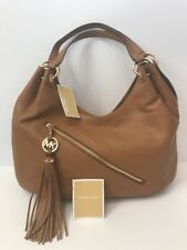 76fa0b58ef NWT AUTHENTIC MICHAEL KORS MK Charm Tassel Large Shoulder Tote Hobo ACORN  BROWN