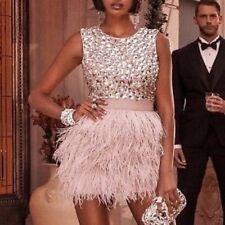 NWT bebe IsIs Dress light pink rhinestone feather mesh back top dress XS size 2