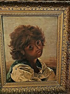 Well Executed 19th C Young Boy Portrait  Oil On Canvas In a Deep Well Gold Frame