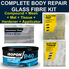 CAR BODY REPAIR FIBRE GLASS KIT - FILLER,FIBRE GLASS MAT, TISSUE, ALUMINIUM MESH