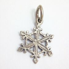 Vintage 3D Snowflake Charm Pendant for Necklace Sterling Silver 925 FMGE Solid