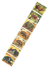WWF Endangered Animals strip of seven (folded) cto 1985 Paraguay #2139 armadillo