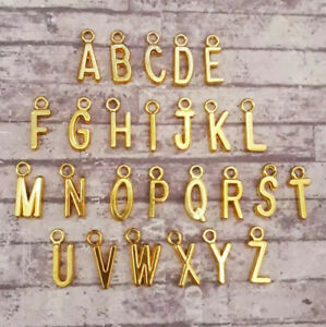 Gold Alphabet Letter Charms A-Z Set Personalised Jewellery Initial Necklace UK