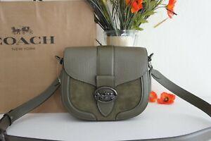 NWT Coach C2805 Georgie Kelp Mixed Leather Suede Saddle Bag Crossbody Handbag