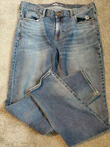 Men's Old Navy Athletic Taper Destruct Dark Wash Stretch Blue Jeans Size 36 x 34