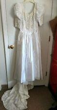 Beautiful Vintage White Lace/Beading/Applique Wedding Dress~ Unbranded~LQQK!!