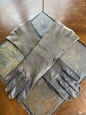 Vintage Real Kid Brown Leather Opera Gloves Women's Soft Leather Size 8