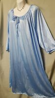 "Ventura  Blue Nightgown  Calf 3/4 Sleeve Plus Size 4X 66"" Bust  B3G1 FREE"